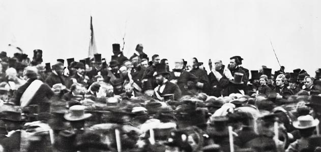 The only known photo of Lincoln at Gettysburg