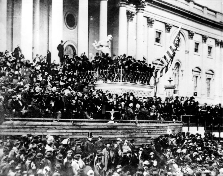 Abraham Lincoln delivering the Second Inaugural Address